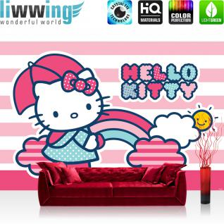liwwing Vlies Fototapete 208x146cm PREMIUM PLUS Wand Foto Tapete Wand Bild Vliestapete - Mädchen Tapete Hello Kitty Katze Illustration Cartoon Kindertapeten pink - no. 1810