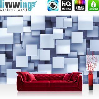 liwwing Vlies Fototapete 312x219cm PREMIUM PLUS Wand Foto Tapete Wand Bild Vliestapete - Illustrationen Tapete Vierecke 3D Muster Abstrakt blau - no. 2462