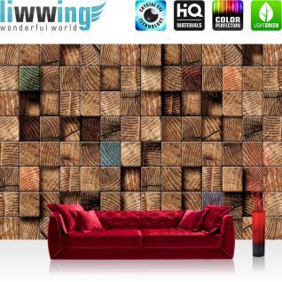 liwwing Vlies Fototapete 300x210 cm PREMIUM PLUS Wand Foto Tapete Wand Bild Vliestapete - 3D Tapete Abstrak Holz Muster Rectecke Design Muster 3D braun - no. 920