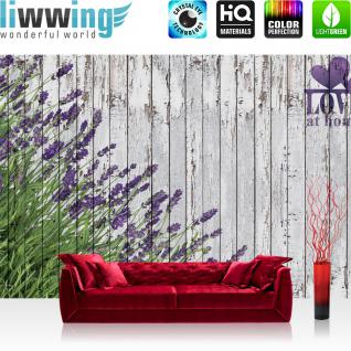 liwwing Vlies Fototapete 208x146cm PREMIUM PLUS Wand Foto Tapete Wand Bild Vliestapete - Holz Tapete Lavendel Holzwand Pflanzen Natur Zeichnung lila - no. 2402