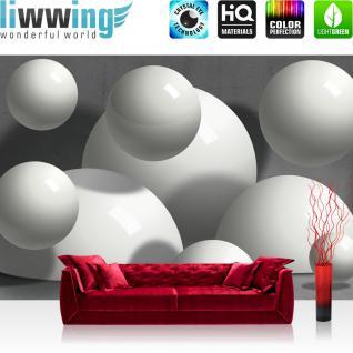 liwwing Vlies Fototapete 104x50.5cm PREMIUM PLUS Wand Foto Tapete Wand Bild Vliestapete - 3D Tapete Bubble Kugel Illustration Wand Stein Kunst weiß - no. 1519