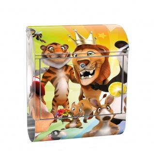 Edelstahl Wandbriefkasten XXL mit Motiv & Zeitungsrolle | Kinder Zoo Tiere Safari Comic Party Dschungel | no. 0088