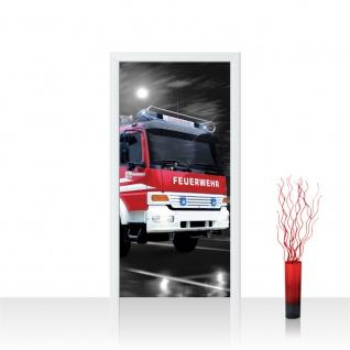 Türtapete - Feuerwehr Auto Nacht Mond | no. 541