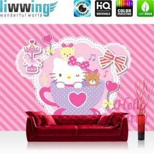 liwwing Fototapete 254x168 cm PREMIUM Wand Foto Tapete Wand Bild Papiertapete - Mädchen Tapete Hello Kitty - Kindertapete Cartoon Katze Schleife Karussell Musik rosa - no. 510