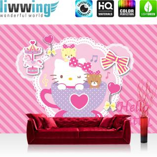 liwwing Vlies Fototapete 350x245 cm PREMIUM PLUS Wand Foto Tapete Wand Bild Vliestapete - Mädchen Tapete Hello Kitty - Kindertapete Cartoon Katze Schleife Karussell Musik rosa - no. 510