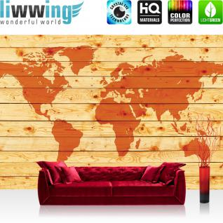 liwwing Fototapete 254x168 cm PREMIUM Wand Foto Tapete Wand Bild Papiertapete - Holz Tapete Holzoptik Welt Erde Kontinente orange - no. 2213