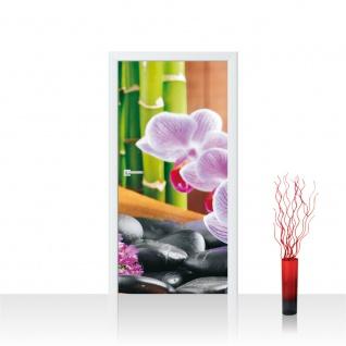 Türtapete - Steine Orchidee Bambus   no. 298