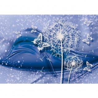 Fototapete Ornamente Tapete Blume Pusteblume Schmetterling Linien blau | no. 2814