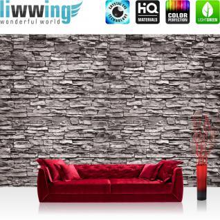 liwwing Vlies Fototapete 200x140 cm PREMIUM PLUS Wand Foto Tapete Wand Bild Vliestapete - Steinwand Tapete Steinwand Steine Steinoptik anthrazit - no. 619
