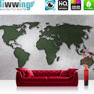 liwwing Fototapete 368x254cm PREMIUM Wand Foto Tapete Wand Bild Papiertapete - Welt Tapete Weltkarte schraffiert Graffiti grün - no. 3331