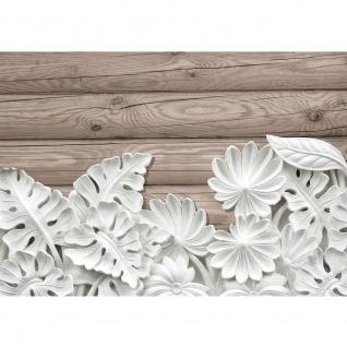 Fototapete Ornamente Tapete Blätter, Blüten, Stuck, Alabaster, Holz weiß | no. 3249