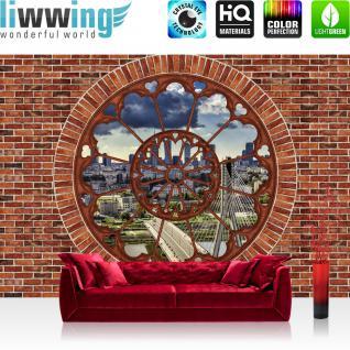 liwwing Fototapete 368x254 cm PREMIUM Wand Foto Tapete Wand Bild Papiertapete - New York Tapete Steinwand Panorama Skyline Steine Ausblick New York braun - no. 1233