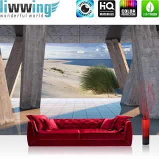 liwwing Vlies Fototapete 312x219cm PREMIUM PLUS Wand Foto Tapete Wand Bild Vliestapete - Meer Tapete Strand Marmor Balken Spiegelung beige - no. 3038