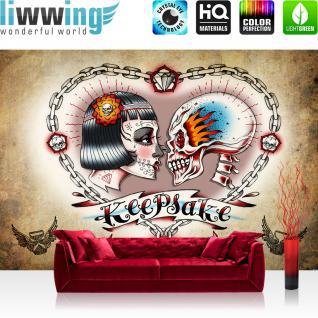 liwwing Vlies Fototapete 200x140 cm PREMIUM PLUS Wand Foto Tapete Wand Bild Vliestapete - Illustrationen Tapete Alchemy - Keepsake Totenkopf Ketten Schloss Braut Keepsake beige - no. 330