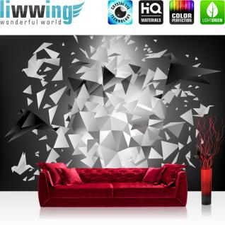 liwwing Vlies Fototapete 416x254cm PREMIUM PLUS Wand Foto Tapete Wand Bild Vliestapete - 3D Tapete Kunst Abstrakt Dreiecke Splitter Origami 3D Optik grau - no. 1496