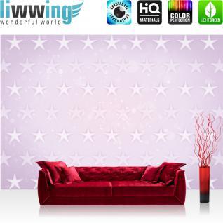 liwwing Fototapete 368x254 cm PREMIUM Wand Foto Tapete Wand Bild Papiertapete - Kunst Tapete Stern Sterne Muster Design Kunst rosa - no. 2363