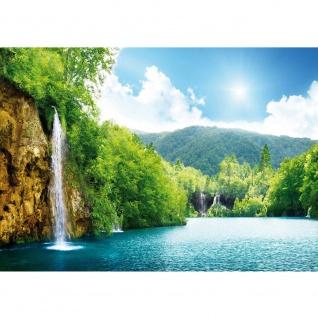 Fototapete Wasser Tapete Wasserfall Bäume Meer Wasser Himmel Sommer Urlaub blau   no. 377