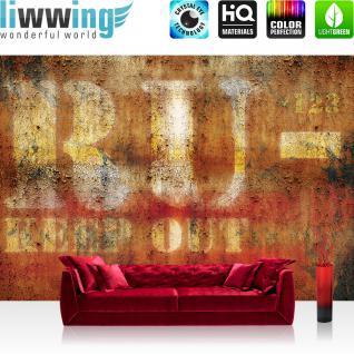 liwwing Fototapete 368x254 cm PREMIUM Wand Foto Tapete Wand Bild Papiertapete - Texturen Tapete Metall Metalloptik Schriftzug ocker - no. 2133