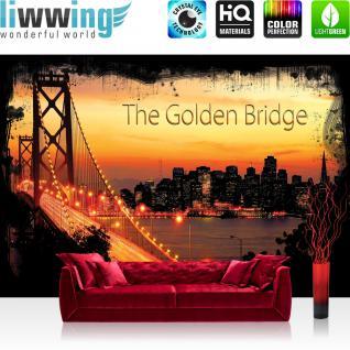 liwwing Vlies Fototapete 300x210 cm PREMIUM PLUS Wand Foto Tapete Wand Bild Vliestapete - USA Tapete Brücke Himmel Lightning Rahmen San Francisco Golden Gate Bridge Skyline orange - no. 1012