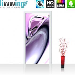 liwwing Türtapete selbstklebend 100x211 cm PREMIUM PLUS Tür Fototapete Türposter Türpanel Foto Tapete Bild - PURPLE CLIMAX - 3D Digital Art Abstrakt Schwung Wirbel blau rot lila - no. 009