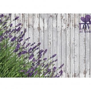 Fototapete Holz Tapete Lavendel Holzwand Pflanzen Natur Zeichnung lila   no. 2402