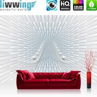liwwing Vlies Fototapete 152.5x104cm PREMIUM PLUS Wand Foto Tapete Wand Bild Vliestapete - 3D Tapete Wellen Kugeln Rechtecke weiß - no. 3206