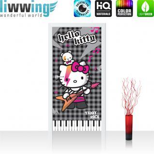 liwwing Türtapete selbstklebend 91x211 cm PREMIUM PLUS Tür Fototapete Türposter Türpanel Foto Tapete Bild - Sanrio HELLO KITTY Kindertapete Cartoon Katze Gitarre Keyboard - no. 1026