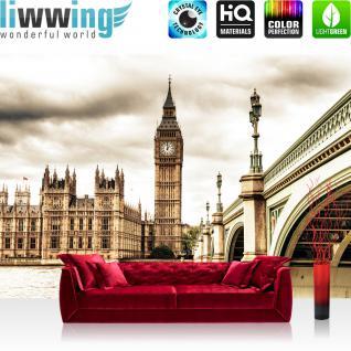 liwwing Vlies Fototapete 416x254cm PREMIUM PLUS Wand Foto Tapete Wand Bild Vliestapete - London Tapete Big Ben Tower Wasser Brücke England sepia - no. 2190
