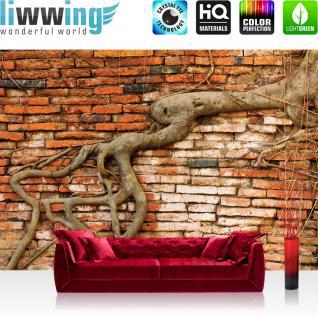 liwwing Vlies Fototapete 312x219cm PREMIUM PLUS Wand Foto Tapete Wand Bild Vliestapete - Steinwand Tapete Backsteinmauer Wurzel rustikal Vintage rot - no. 3289