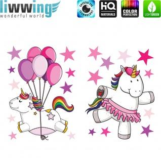 Wandsticker - No. 4850 Wandtattoo Sticker Einhorn Unicorn Herzen Regenbogen Ballons Sterne Pony