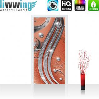 liwwing Vlies Türtapete 91x211 cm PREMIUM PLUS Tür Fototapete Türposter Türpanel Foto Tapete Bild - Abstrakt Kugeln Muster Streifen - no. 559