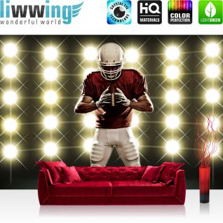 liwwing Fototapete 368x254 cm PREMIUM Wand Foto Tapete Wand Bild Papiertapete - Sport Tapete Lichter Flutlicht Football American Football Helm schwarz - no. 2468
