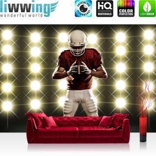 liwwing Vlies Fototapete 208x146cm PREMIUM PLUS Wand Foto Tapete Wand Bild Vliestapete - Sport Tapete Lichter Flutlicht Football American Football Helm schwarz - no. 2468