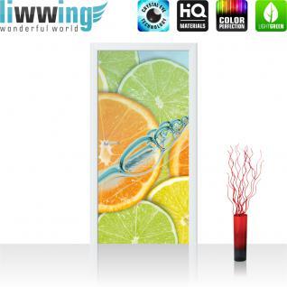 liwwing Türtapete selbstklebend 91x211 cm PREMIUM PLUS Tür Fototapete Türposter Türpanel Foto Tapete Bild - Limette Orange Zitrone - no. 296