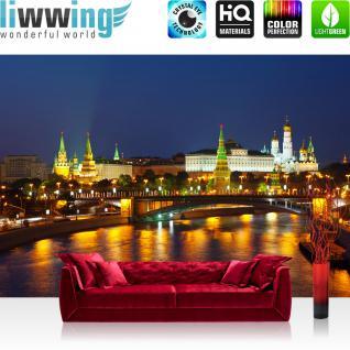 liwwing Fototapete 368x254 cm PREMIUM Wand Foto Tapete Wand Bild Papiertapete - Skylines Tapete Moskau Stadt Nacht Skyline Brücke bunt - no. 1804