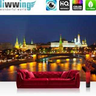 liwwing Vlies Fototapete 312x219cm PREMIUM PLUS Wand Foto Tapete Wand Bild Vliestapete - Skylines Tapete Moskau Stadt Nacht Skyline Brücke bunt - no. 1804