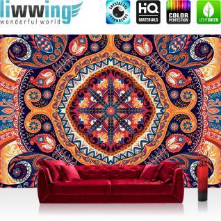 liwwing Vlies Fototapete 312x219cm PREMIUM PLUS Wand Foto Tapete Wand Bild Vliestapete - Ornamente Tapete symmetrisch Blumen stilisiert Osten bunt - no. 3255