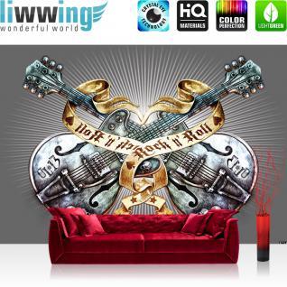 liwwing Fototapete 368x254 cm PREMIUM Wand Foto Tapete Wand Bild Papiertapete - Illustrationen Tapete Alchemy Gitarre Rock `n` Roll Vintage Tattoo grau - no. 293