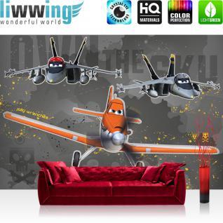 liwwing Vlies Fototapete 300x210 cm PREMIUM PLUS Wand Foto Tapete Wand Bild Vliestapete - Disney Tapete Disney - Planes - Dusty Kindertapete Cartoon Flugzeuge Jungen Pilot grau - no. 1052