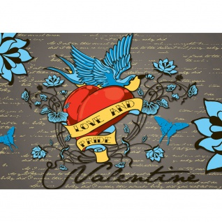 Fototapete Illustrationen Tapete Illustration Vintage Herz Blumen bunt | no. 2715