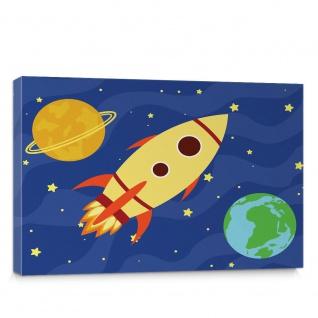 Leinwandbild Rakete Weltall Planet Stern Kinder | no. 5008