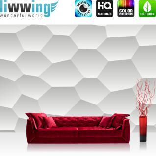 liwwing Vlies Fototapete 416x254cm PREMIUM PLUS Wand Foto Tapete Wand Bild Vliestapete - Illustrationen Tapete Wabe Muster Formen grau - no. 3113