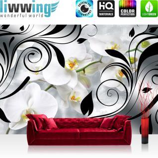 liwwing Vlies Fototapete 416x254cm PREMIUM PLUS Wand Foto Tapete Wand Bild Vliestapete - Blumen Tapete Orchideen Illustration Ornamente Blume schwarz weiß - no. 1344