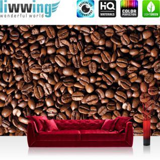 liwwing Fototapete 368x254 cm PREMIUM Wand Foto Tapete Wand Bild Papiertapete - Kulinarisches Tapete Kaffee Bohnen braun - no. 521