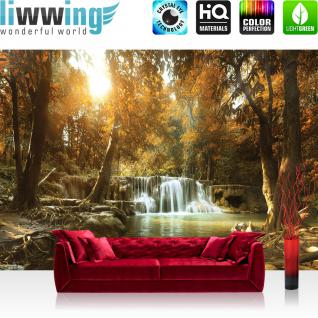 liwwing Fototapete 254x184cm PREMIUM Wand Foto Tapete Wand Bild Papiertapete - Wald Tapete Regenwald Wasserfall Fluss Tropen braun - no. 3340