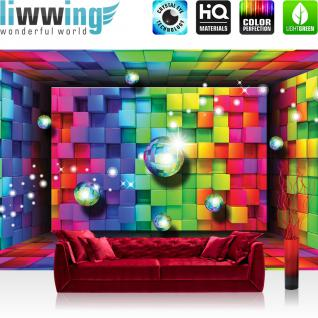 liwwing Vlies Fototapete 152.5x104cm PREMIUM PLUS Wand Foto Tapete Wand Bild Vliestapete - Kunst Tapete Würfel Farben Kacheln Kugeln 3D bunt - no. 1550