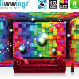 liwwing Vlies Fototapete 416x254cm PREMIUM PLUS Wand Foto Tapete Wand Bild Vliestapete - Kunst Tapete Würfel Farben Kacheln Kugeln 3D bunt - no. 1550