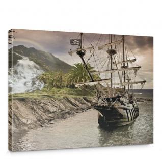 Leinwandbild Segel Schiff Palme Wasserfall Meer Regenbogen Piraten Berg Papagei Kiste Truhe | no. 562