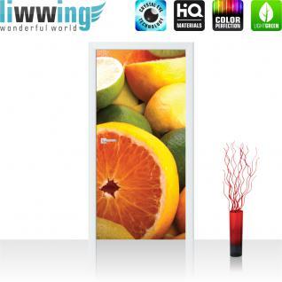 liwwing Türtapete selbstklebend 91x211 cm PREMIUM PLUS Tür Fototapete Türposter Türpanel Foto Tapete Bild - Orangen Limette Zitrone Kiwi Obst Früchte - no. 581