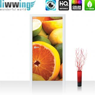 liwwing Vlies Türtapete 91x211 cm PREMIUM PLUS Tür Fototapete Türposter Türpanel Foto Tapete Bild - Orangen Limette Zitrone Kiwi Obst Früchte - no. 581